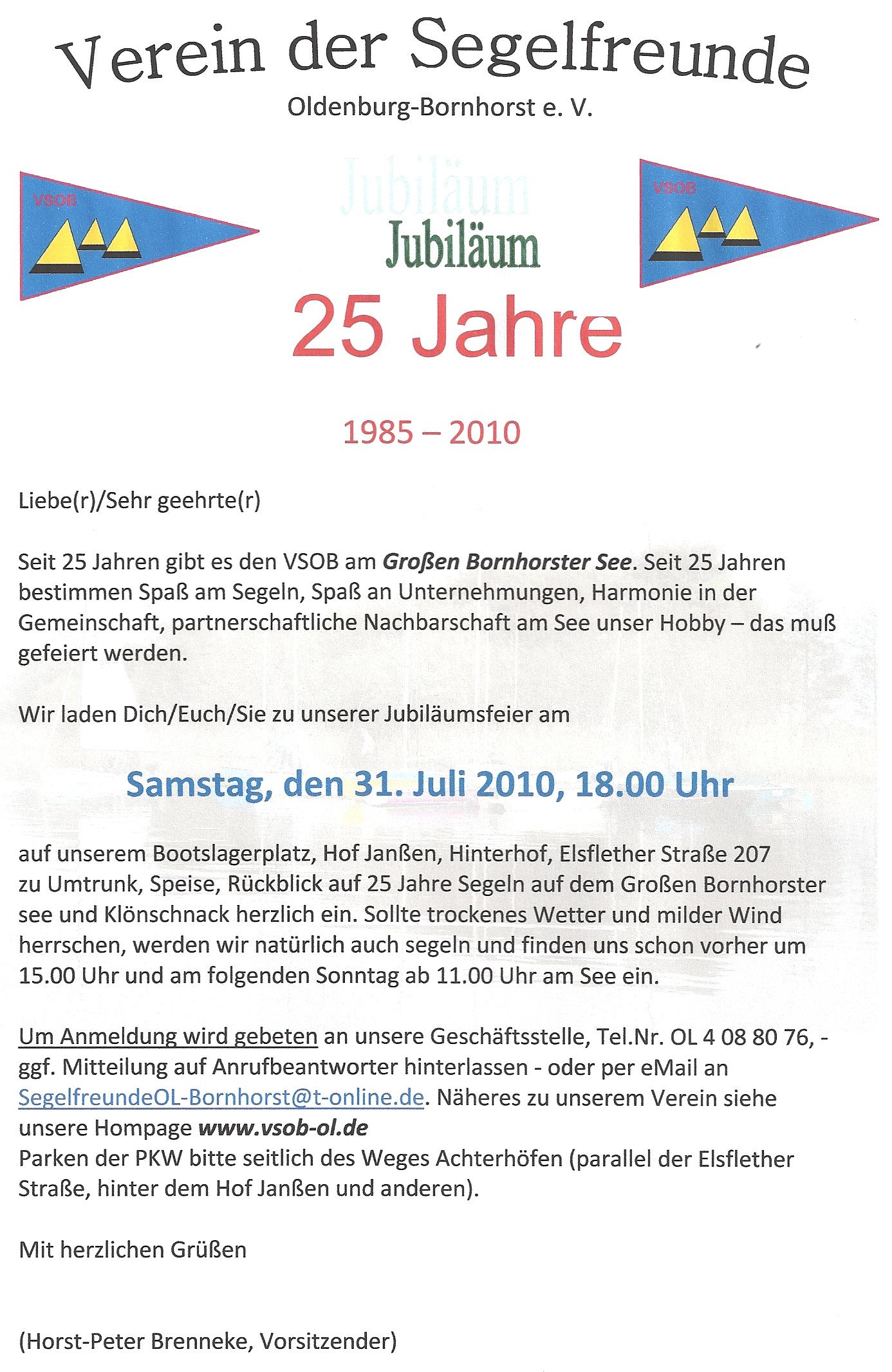Verein Der Segelfreunde Oldenburg Bornhorst E V 25 Jahre Vsob